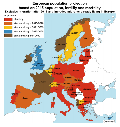 Shrinking population Europe
